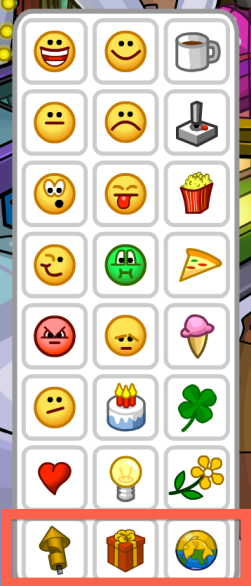 Emoticon 1: Firecracker Emoticon 2: Gift Emoticon 3: Coins for Change seal