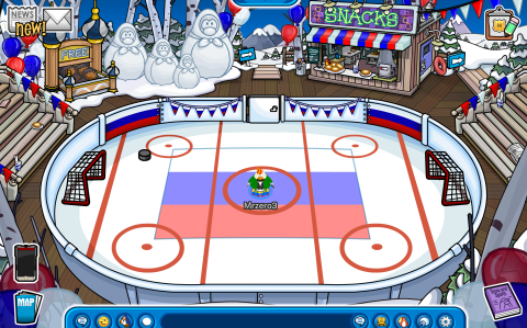 The Ice Rink wt/ Russian celebrations and decorations.