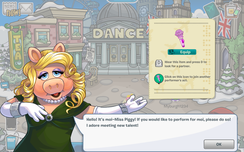 Club Penguin – Muppets World Tour – Task #2 with Miss Piggy