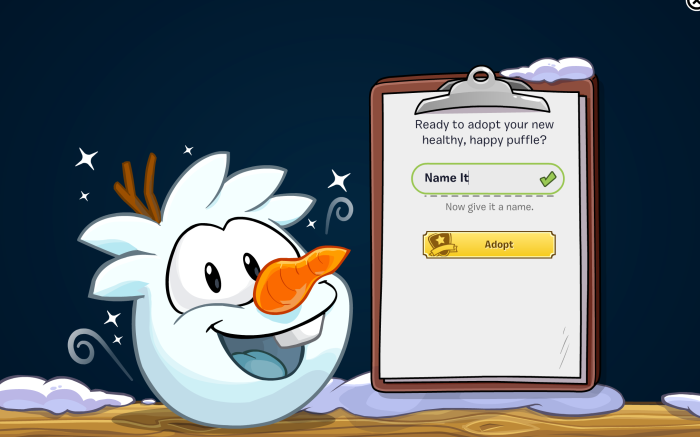 The 'Adopt an Olaf Puffle' screen