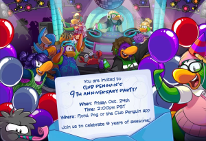 Club Penguin 9th Anniversary Party Invitation